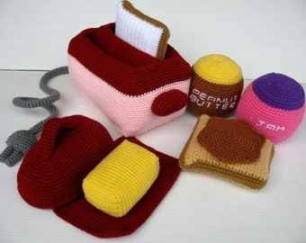 Crochet Pattern - TOASTER- Toys / Playfood - PDF  (00433)
