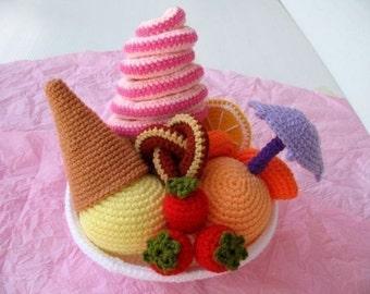 Crochet Pattern - FRUITY ICE CREAM - Play food  (00446)