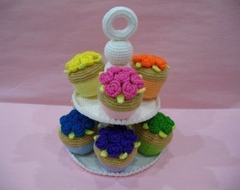 Crochet Pattern - CUPCAKES- Toys / Playfood - PDF  (00420)