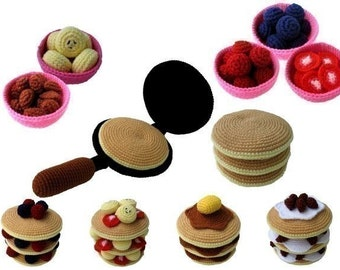 Crochet Pattern - PANCAKES - Toys / Playfood - PDF  (00435)