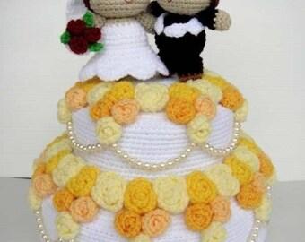 Crochet Pattern - WEDDING CAKE - Playfood / Toys / PDF  (00375)
