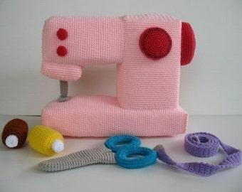 Crochet Pattern - SEWING MACHINE - Toys - PDF  (00432)