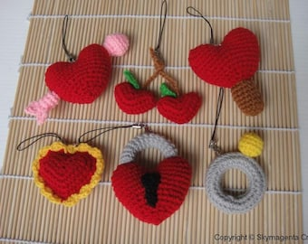 Miniature Crochet Pattern- VALENTINE 2 - Cell Phone Charm - pdf  (00343)