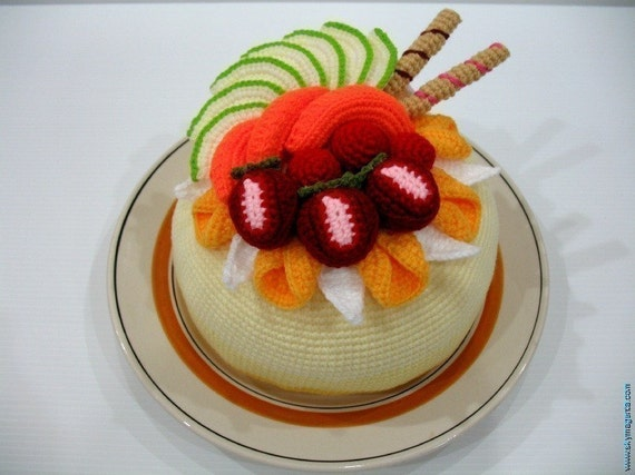 Crochet Pattern- Tasty FRUIT CAKE-Play Food/Toys PDF (00372)