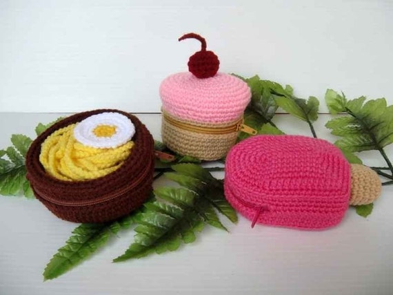Crochet Pattern - FOOD PURSE 1 - Cupcake, Noodle and Ice Lolly - PDF  (00407)