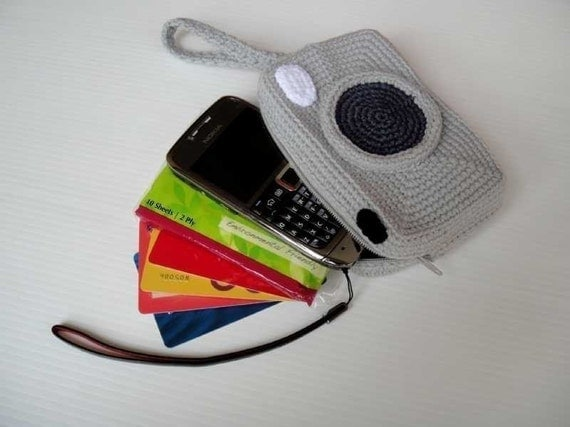Crochet Pattern - CAMERA PURSE - For cell phone / money / others - PDF  (00441)