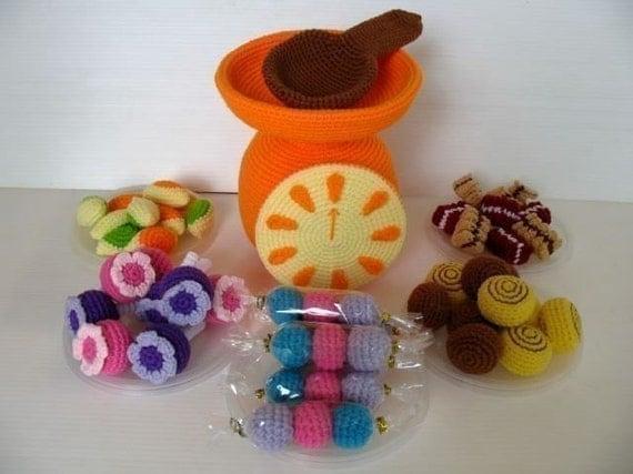 Crochet Pattern - CANDY SELLER- Toys / Playfood - PDF  (00451)