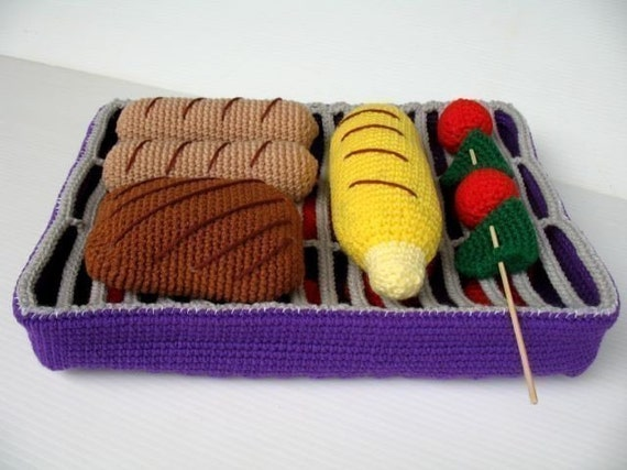 Crochet Pattern - BBQ GRILL and FOOD- Toys / Playfood - pdf  (00357)