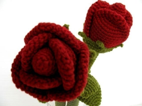 Crochet Pattern - ROSE FLOWER- Toys - PDF  (00412)