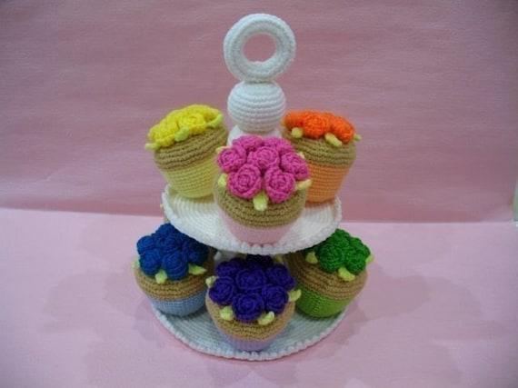Crochet Pattern - CUPCAKES- Toys / Playfood - PDF  (00420)