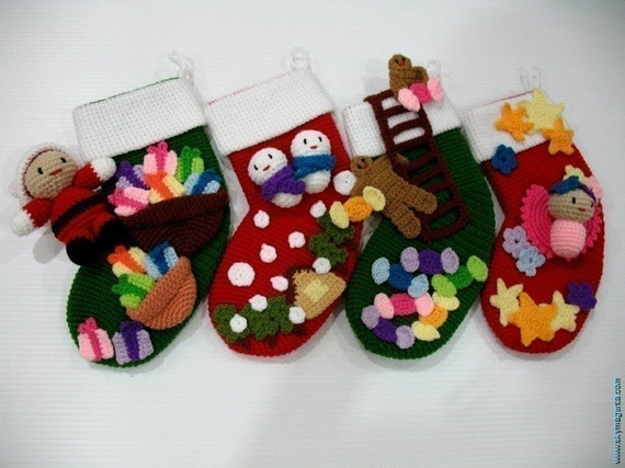 Crochet Pattern-CHRISTMAS SOCKS- Toys/Deco-PDF (00469)