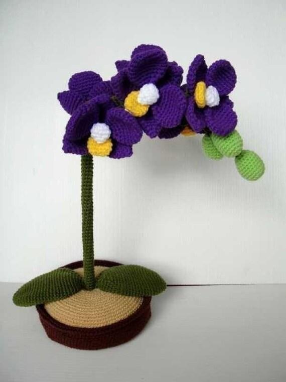 Free Crochet Pattern Orchidee : Crochet Pattern ORCHID Flower / Plant PDF 00414