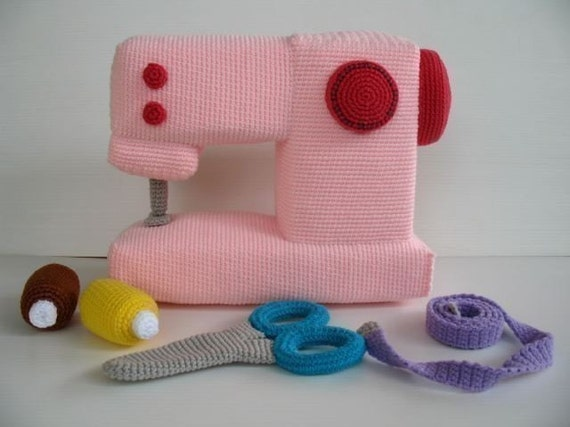 Crochet Pattern - SEWING MACHINE - Toys - PDF  (00432)