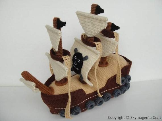 Crochet Pattern - PIRATE SHIP - Toys - in PDF (00464)