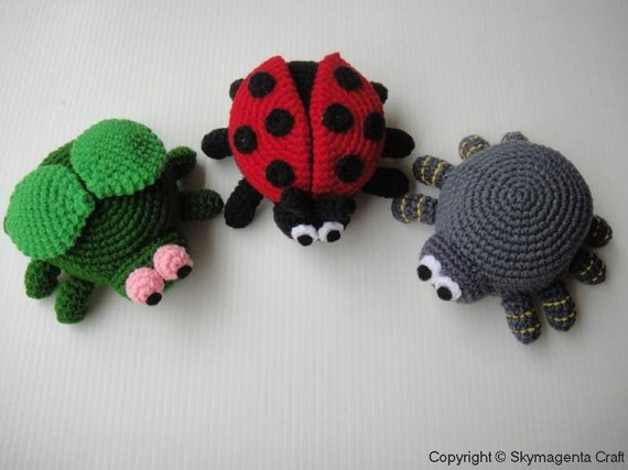 Crochet Pattern - BUGS PURSE - Ladybird, Spider and Fly - PDF  (00450)