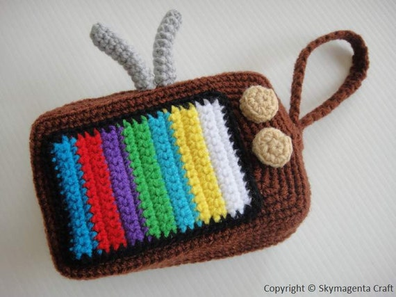 Crochet Cell Phone Purse : Crochet Purse - VINTAGE TELEVISION PURSE - cell phone pouch