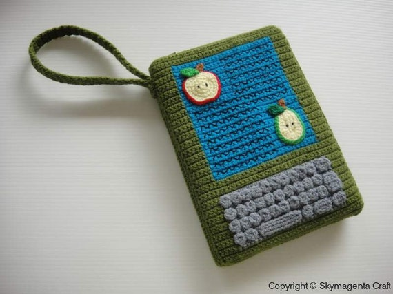 Crochet Pattern - Moss Green Kindle Cover / Sleeve / Purse  (00363)