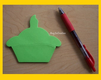 Handcrafted Cupcake Shaped Notepad Green
