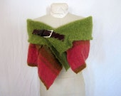 Mohair Capelet // Upcycled Shrug in Salmon Pink & Avocado Green // Size Large XL