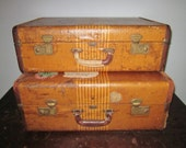 1940's Atlas Airess Set of Luggage - 2 Vintage Striped Suitcases