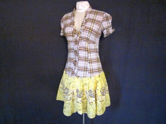 Yellow Plaid Paisley Upcycled Dress - Size Small Medium