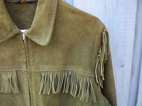 1970's Brill Bros. Timberline Green Suede Fringe Jacket - Men's Size 36 Small Medium