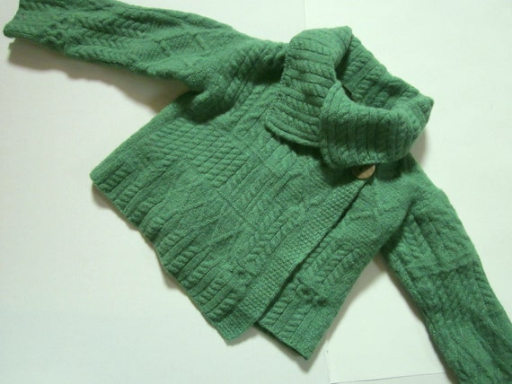 Standun Irish Wool Cable Knit Cropped Sweater Shrug - Size Small