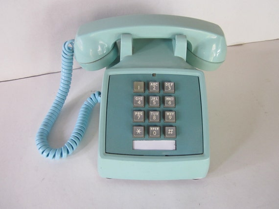 Robin's Egg Blue Push Button Telephone
