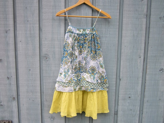 Upcycled Damask Tank Top Dress - Size Small - Blue & Yellow Paisley