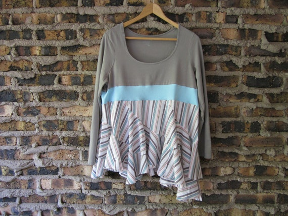XL Asymmetric Upcycled Long Sleeved Top - Eco Cool Bohemian T-Shirt