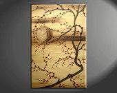Plum Blossom Painting Deep Rich Gold, Reds Chinese Zen Style Original Art Custom Version 24x36