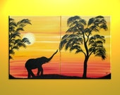 African Elephant Silhouette Painting Sunset Tree Art Original Dusk Evening Sun over two Canvases Mood Setting Wall Art Custom 32x20