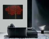 Red Fall Autumn Tree Painting Abstract Art over Three Canvases Zen Asian Style Customize Colors Triptych Custom 45x30