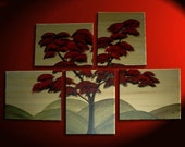 Japanese Tree Painting Huge Original Asian Style Art Fall Modern Abstract Customize your Colors 56x40