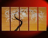 Zen Tree Painting Spring Flowers Ochre Golden Browns 40x24 over Five Stretched Canvases Custom