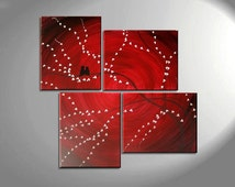 Original Painting Love Bird Wall Art Burgundy Maroon Red Cherry Blossoms Unique Multiple Canvases Asymmetric Custom Personalized 47x41