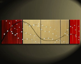 Beautiful Deep Red and Gold Painting 64 inches wide Blossoms Art