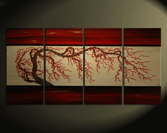 Large Plum Blossom Painting Deep Rich Reds and Gold Chinese Zen Style Original Wall Art 60x30 custom