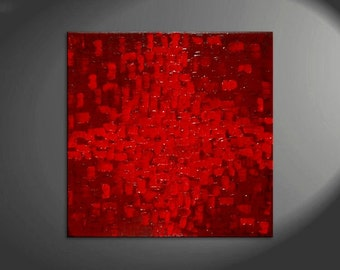 Red Painting Abstract Bold Textured Passionate Modern Urban Original Art on Stretched Canvas 30x30 Impasto Art for Sale