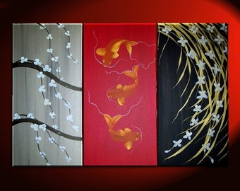 Koi Fish, Wild Orchid and Cherry Blossom Painting Red Chinese Zen Style Original Asian Art CHOOSE your Custom Version 45x30