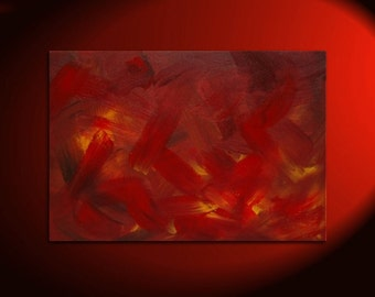 Red Abstract Painting Original Art on Stretched Canvas Fall Colors Painting Featured on TV Custom Version 36x24
