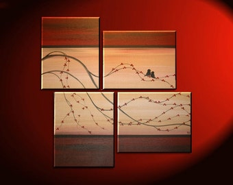 Cherry Blossom Painting Love Bird Art Original Asian Style Modern Abstract Branch Red and Gold Textured Four Canvases 47x37 Custom