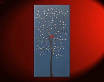 Red Bird and Tree Painting Blue Happy Art Textured Cherry Blossom Tree Accent Size Custom 24x48