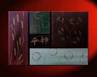 Large Asian Painting Zen Blossoms Cattails and Circles Warm Colors Original Art Burgundy Green Brown Grey 24x36 Chinese Kanji