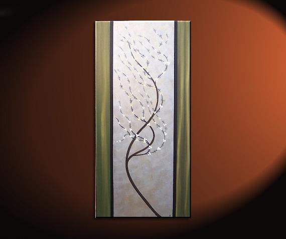 Large Silver and Green Painting Cherry Blossom Flowering Tree Art Original Art Zen Asian Stylish Decor Custom 24x48 Huge