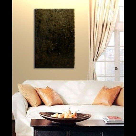 Black and Gold Abstract Painting Textured Palette Knife Art Modern Contemporary Dramatic Urban Home Decor Wall Decoration 24x36 custom
