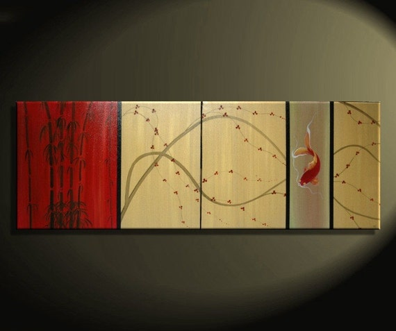 Koi Fish Art Cherry Blossom Painting Large Gold and Red Chinese Zen Style Original Modern Asian Fusion Custom 72x24