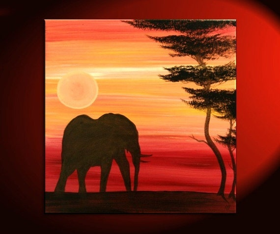 Elephant Painting Sunset Silhouette African Acacia Tree