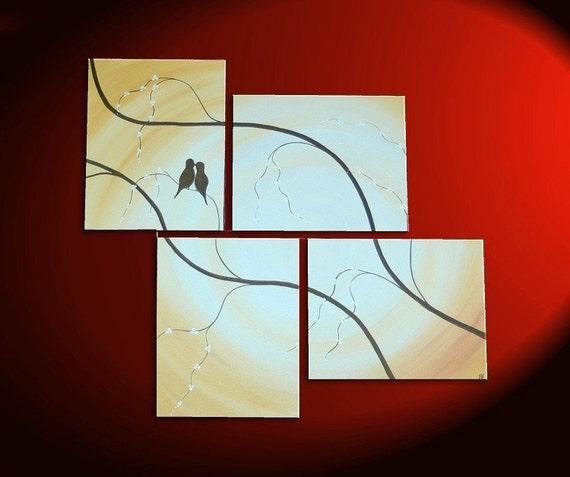 Multiple Canvases Painting Love Birds Cherry Blossom Branch Art Original Caramel Beige and Browns Asian Zen Calming Custom 47x41