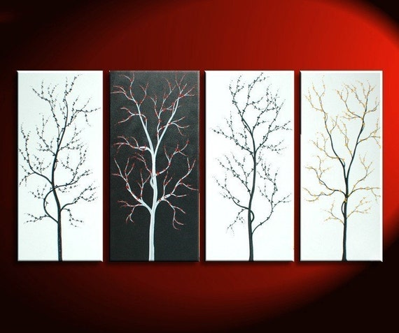 Black and White Tree Painting Zen Asian Cherry Blossom Art